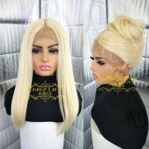 Human blend sexy blond lacefront natural look wig